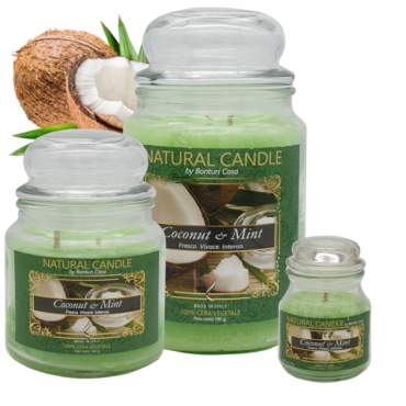CANDELA MEDIA IN CERA VEGETALE COCCO E MENTA – NATURE CANDLE